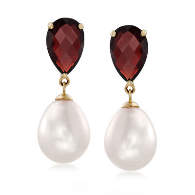 6.50 ct. t.w. Garnet and 14x10mm Cultured Pearl Drop Earrings in 14kt Yellow Gold, , default