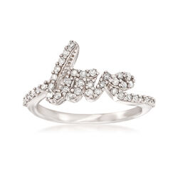 """.40 ct. t.w. Diamond """"Love"""" Ring in Sterling Silver, , default"""