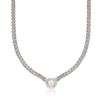 8mm Cultured Pearl Flat Wheat Chain Necklace in Sterling Silver, , default