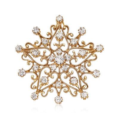 C. 1980 Vintage 2.40 ct. t.w. Diamond Starburst Pendant Pin in 14kt Yellow Gold, , default