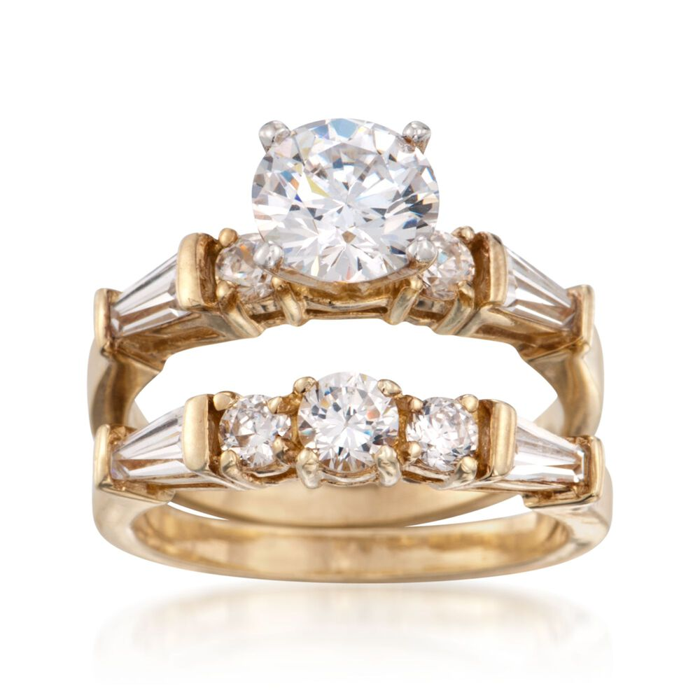 T W Cz Bridal Set Engagement And Wedding Rings In 18kt Yellow Gold
