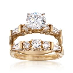 2.60 ct. t.w. CZ Bridal Set: Engagement and Wedding Rings in 18kt Yellow Gold Over Sterling, , default