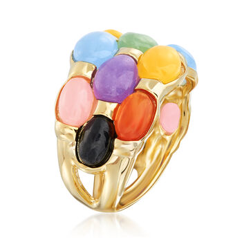 Multicolored Jade Ring in 14kt Yellow Gold Over Sterling, , default