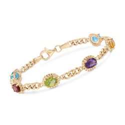 5.00 ct. t.w. Multi-Stone Link Bracelet in 18kt Gold Over Sterling Silver, , default