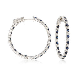 1.10 ct. t.w. Sapphire and .70 ct. t.w. Diamond Inside-Outside Hoop Earrings in 14kt White Gold, , default