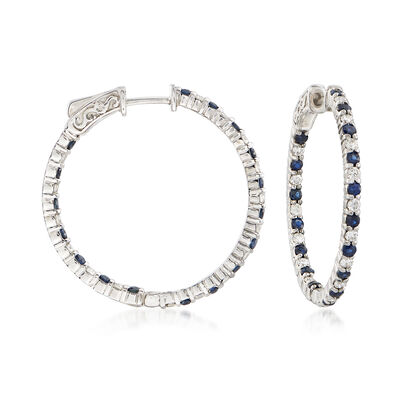 1.10 ct. t.w. Sapphire and .70 ct. t.w. Diamond Inside-Outside Hoop Earrings in 14kt White Gold, , default