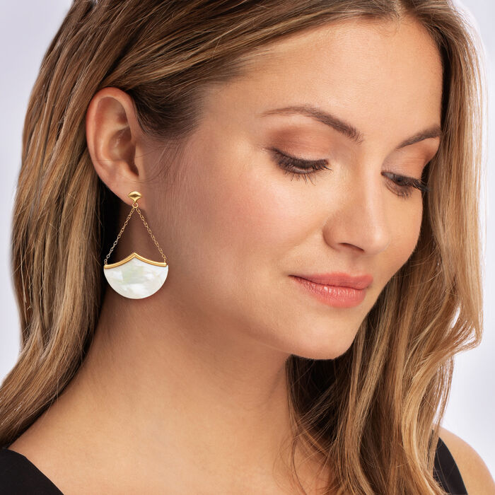 Mother-Of-Pearl Drop Earrings in 18kt Gold Over Sterling