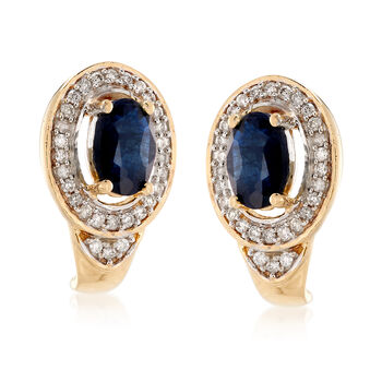 .90 ct. t.w. Sapphire and .16 ct. t.w. Diamond Drop Earrings in 14kt Yellow Gold