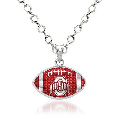 """Sterling Silver the Ohio State University Enameled Football Pendant Necklace. 18"""", , default"""