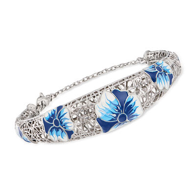 Italian Enamel Flower Cuff Bracelet in Sterling Silver