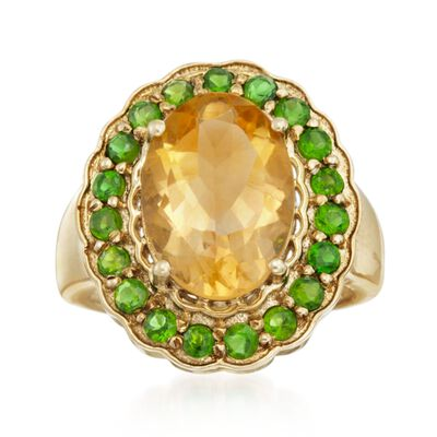 5.50 Carat Citrine and 1.10 ct. t.w. Green Chrome Diopside Ring in 14kt Gold Over Sterling, , default