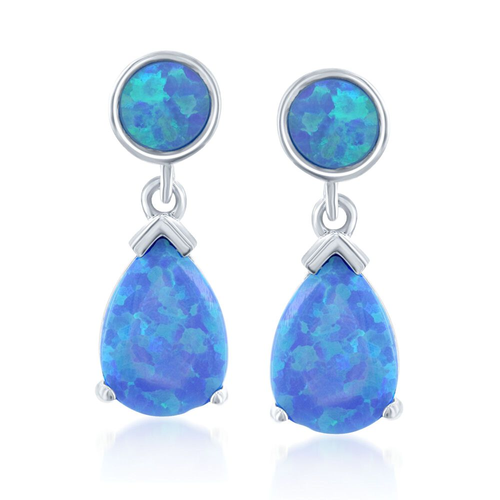 Round And Pear Shaped Blue Synthetic Opal Drop Earrings In Sterling Silver Default