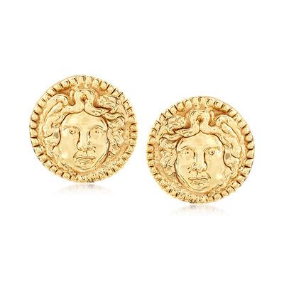 Italian Etruscan Portrait Earrings in 14kt Yellow Gold, , default