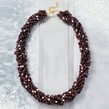 "860.00 ct. t.w. Garnet and 3.5-4mm Cultured Pearl Torsade Necklace with 18kt Gold Over Sterling. 18"", , default"