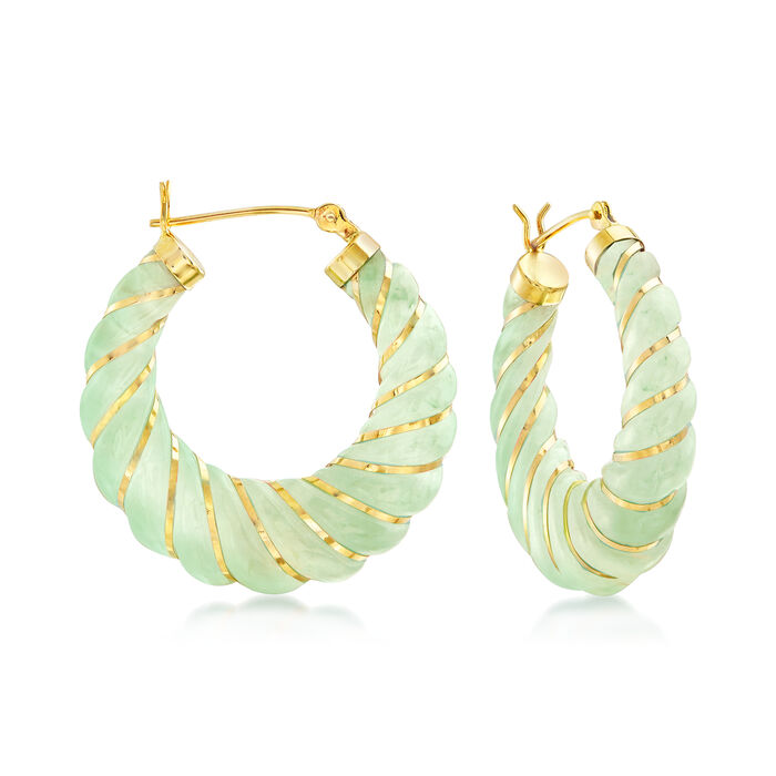 Carved Green Jade Hoop Earrings with 14kt Yellow Gold. 1 1/8""