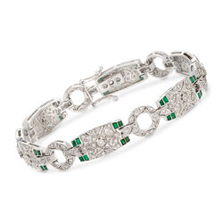 C. 1980 Vintage 1.40 ct. t.w. Diamond and .75 ct. t.w. Emerald Bracelet in 14kt White Gold, , default