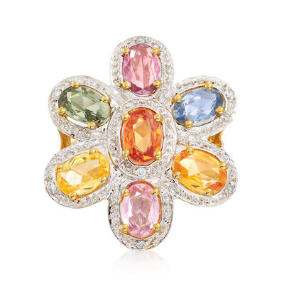 C. 2000 Vintage 3.85 ct. t.w. Multicolored Sapphire and Diamond-Accented Flower Ring in 14kt Yellow Gold, , default