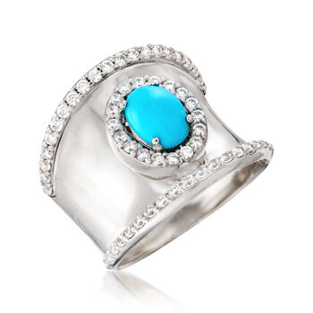 Turquoise and 1.30 ct. t.w. White Zircon Ring in Sterling Silver