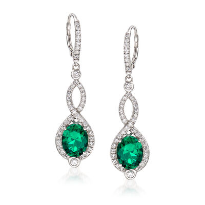 Simulated Emerald and 1.15 ct. t.w. CZ Drop Earrings in Sterling Silver, , default