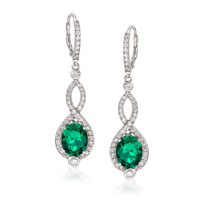 Simulated Emerald and 1.15 ct. t.w. CZ Drop Earrings in Sterling Silver