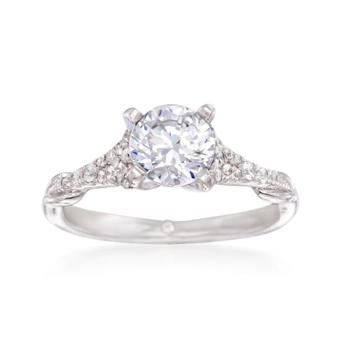 Gabriel Designs .17 ct. t.w. Diamond Engagement Ring Setting in 14kt White Gold