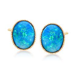 Blue Opal Doublet Stud Earrings in 14kt Yellow Gold, , default