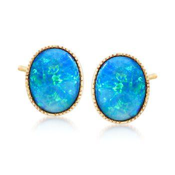 Blue Opal Doublet Stud Earrings in 14kt Yellow Gold , , default