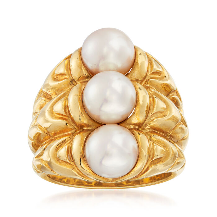 C. 1980 Vintage Bulgari 7mm Cultured Pearl Ring in 18kt Yellow Gold. Size 5.75, , default