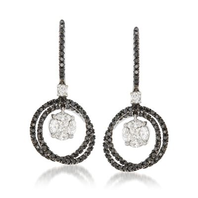 1.40 ct. t.w. Black and White Diamond Cluster Circle Drop Earrings in 14kt White Gold