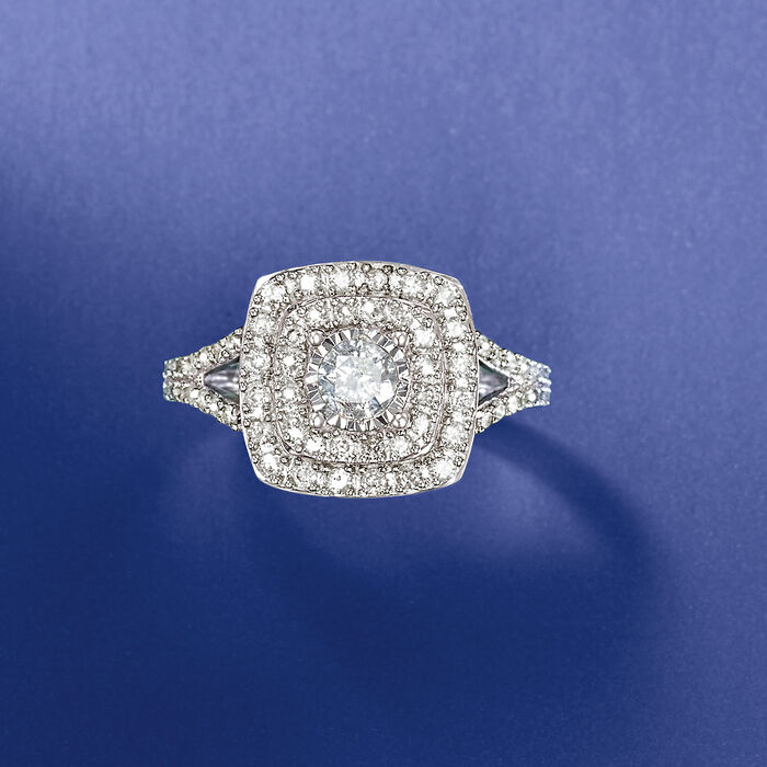 1.03 ct. t.w. Diamond Halo Ring in 14kt White Gold