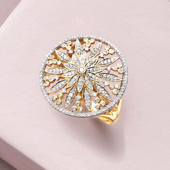 .50 ct. t.w. Diamond Floral Circle Ring in 14kt Yellow Gold