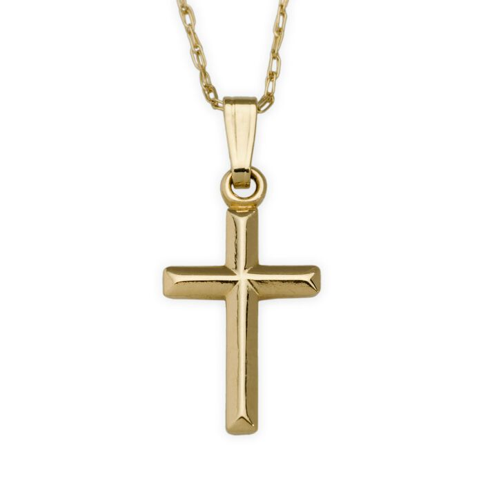 "Child's 14kt Yellow Gold Cross Necklace. 15"", , default"