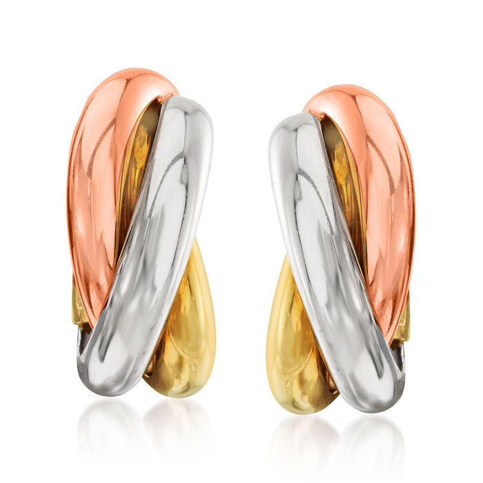 C. 1980 Vintage Cartier 18kt Tri-Colored Gold Trinity Clip-On Earrings