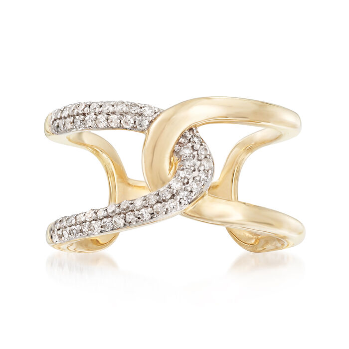 .26 ct. t.w. Diamond Open-Space Intertwined Ring in 14kt Yellow Gold. Size 5, , default