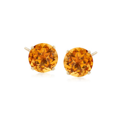 3.30 ct. t.w. Citrine Stud Earrings in 14kt Yellow Gold, , default