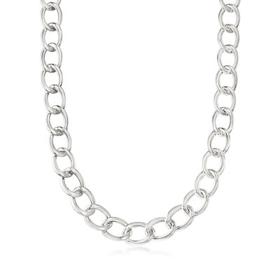 Italian Sterling Silver Curb-Link Necklace, , default