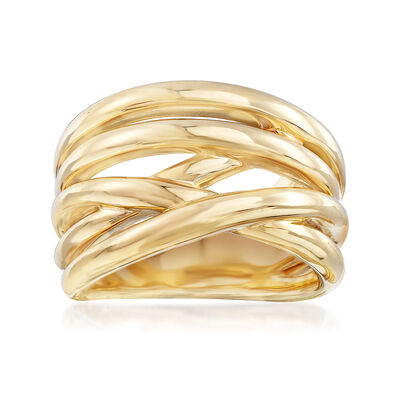 Italian Multi-Row Crisscross Ring in 14kt Yellow Gold, , default