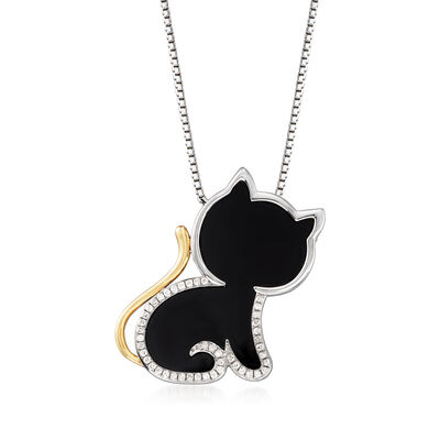 Black Agate and .13 ct. t.w. Diamond Cat Pendant Necklace in 14kt Yellow Gold and Sterling Silver, , default
