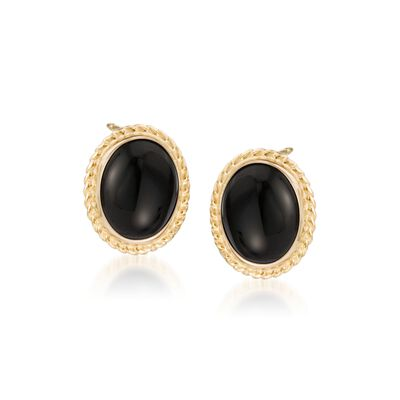 Onyx Twist Edge Earrings in 14kt Yellow Gold, , default
