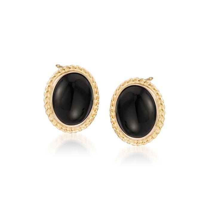 Onyx Twist Edge Earrings in 14kt Yellow Gold, , default