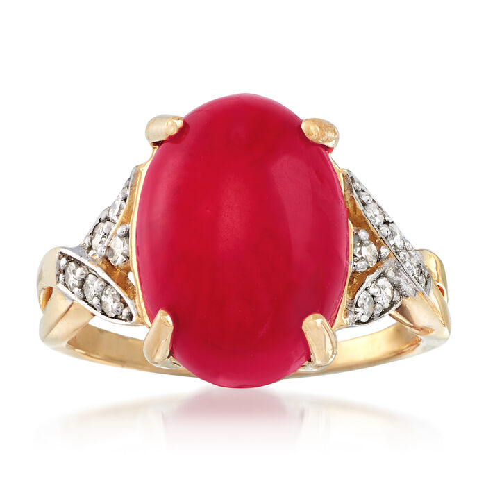 Red Coral and .15 ct. t.w. Diamond Ring in 18kt Yellow Gold, , default