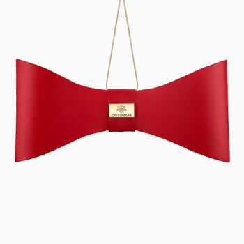 Crystamas Red Lambskin Leather Bow Ornament with Yellow Gold Studs, , default