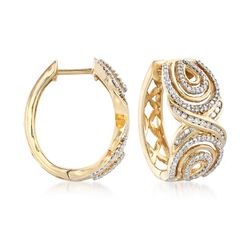 .50 ct. t.w. Diamond Hoop Earrings in 14kt Yellow Gold. Hoop Earrings, , default