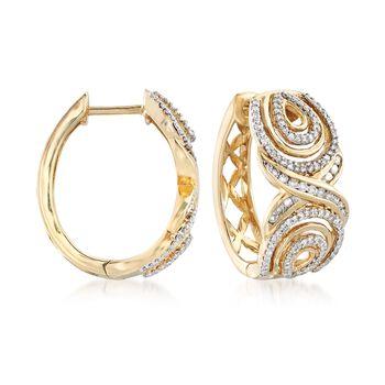 .50 ct. t.w. Diamond Hoop Earrings in 14kt Yellow Gold. Hoop Earrings, , default