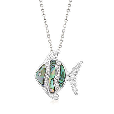 Abalone Shell and .10 ct. t.w. CZ Fish Pendant Necklace in Sterling Silver