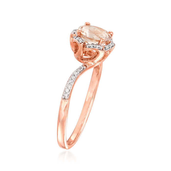 1.10 Carat Morganite and .10 ct. t.w. Diamond Ring in 14kt Rose Gold