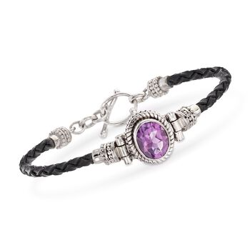 "2.50 Carat Amethyst and Black Leather Toggle Bracelet in Sterling Silver. 7"", , default"
