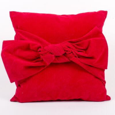 Set of 2 Red Velvet Bow Throw Pillows, , default