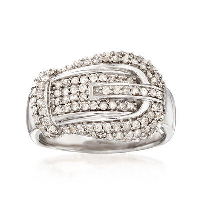 .75 ct. t.w. Diamond Buckle-Style Ring in Sterling Silver, , default