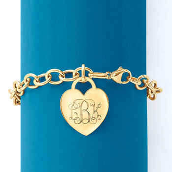 Italian 14kt Yellow Gold Personalized Heart Charm Bracelet, , default